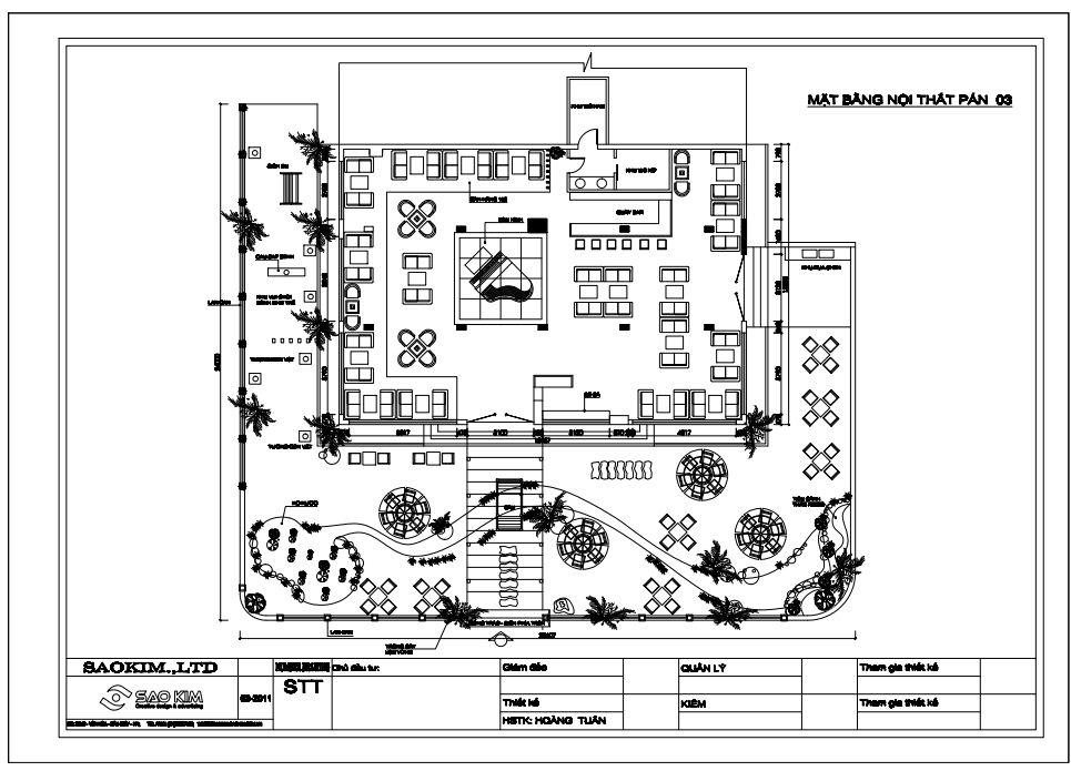 Thiết kế quán cafe sân vườn - Ý tưởng mặt bằng