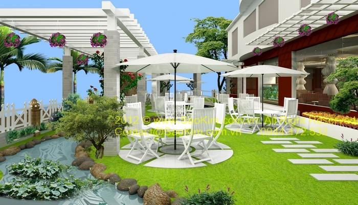 Phối cảnh thiết kế quán cafe Paradise - khu vực sân vườn