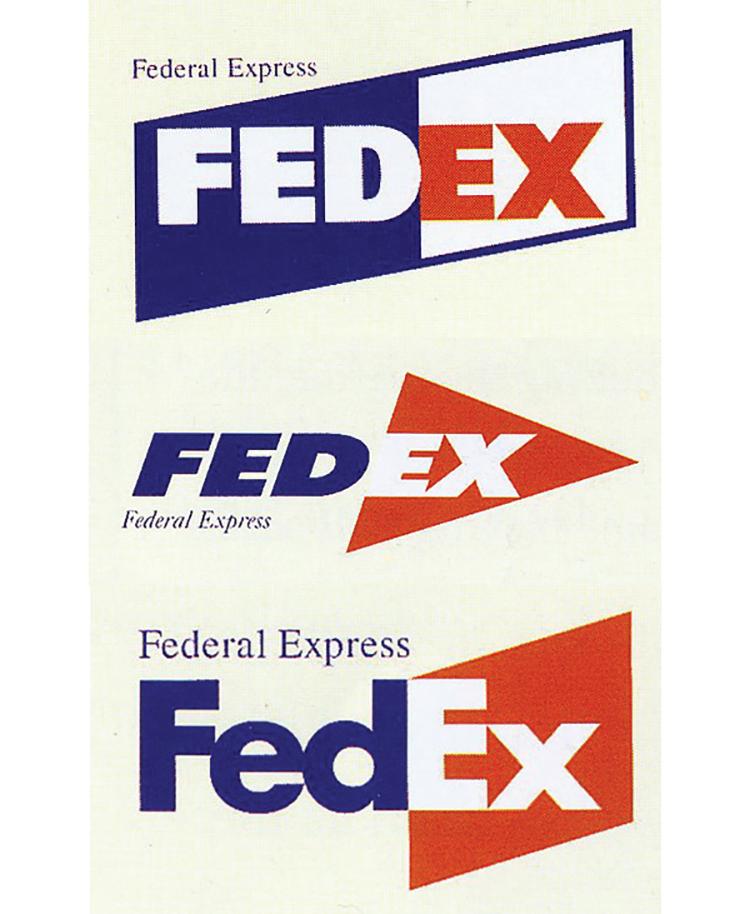 Ba trong số năm thiết kế cuối cùng được trình bày cho hội đồng FedEx.