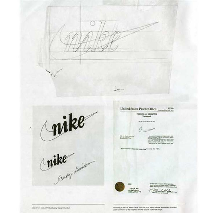 Bản phác thảo Nike swoosh của Carolyn Davidson và chứng nhận chứng nhận sáng chế của Mỹ.