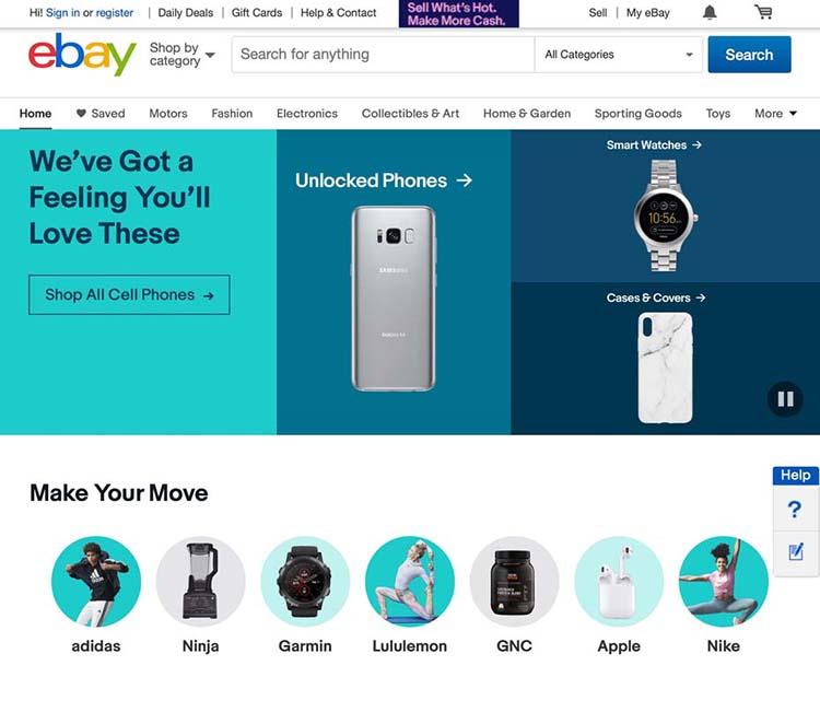 Web của eBay sử dụng font chữ không chân có tính rõ ràng rất cao.