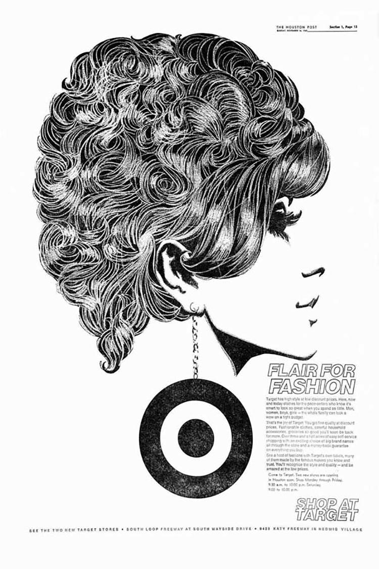 Một trong những quảng cáo đầu tiên - từ năm 1969 - mang logo Target mới, đơn giản.