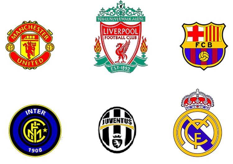 Logo của các đội bóng giá trị nhất thế giới 2018.