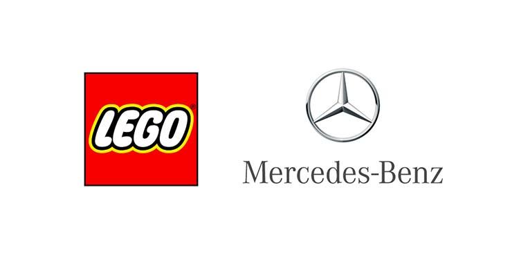 Logo của thương hiệu Lego và Mercedes.