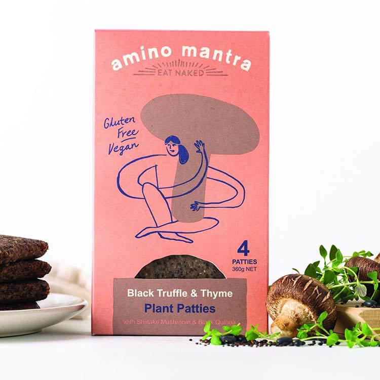 Thiết kế bao bì đậm tính chất thiên nhiên của thương hiệu thực phẩm Amino Mantra.