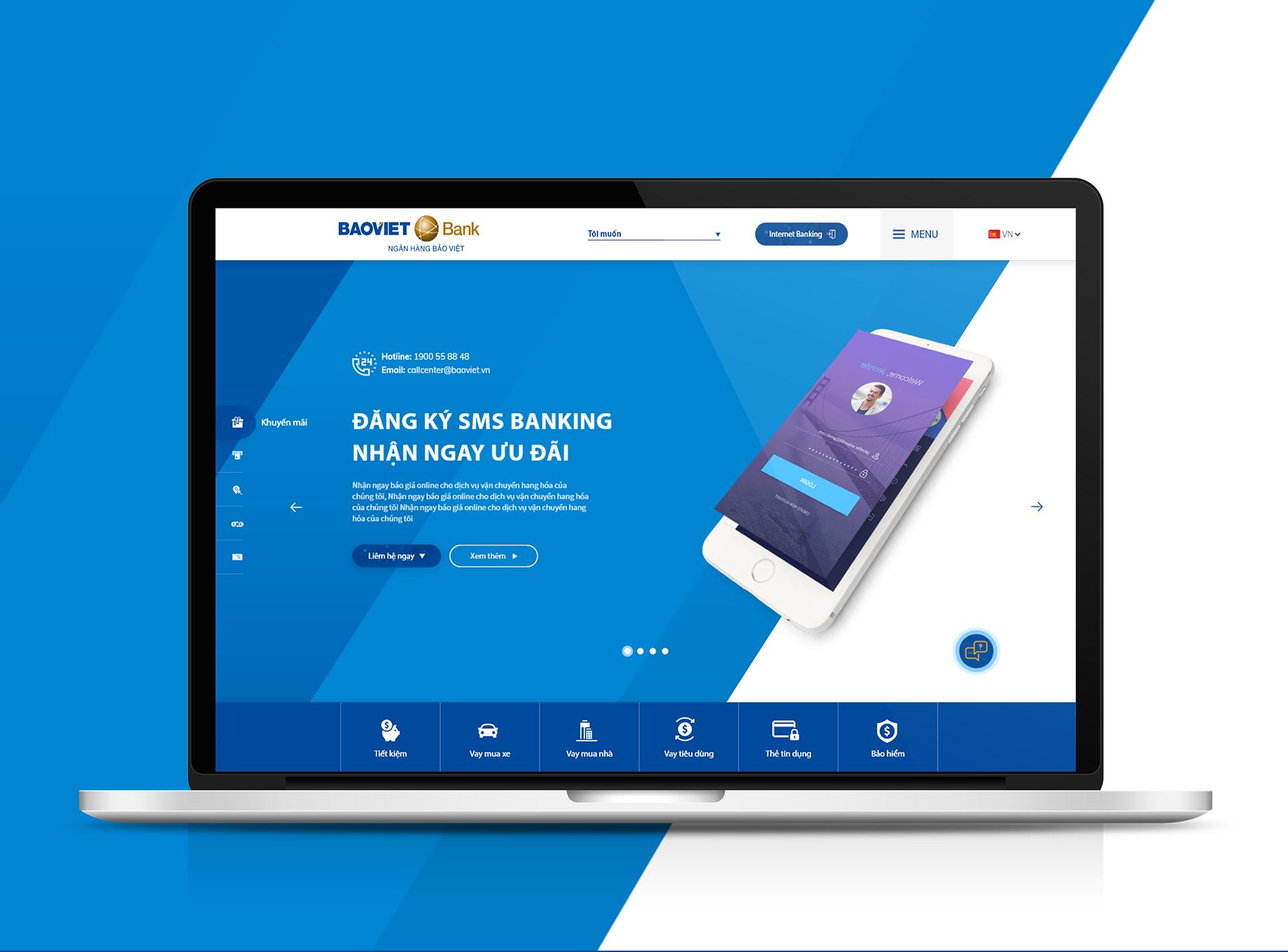 Website Bảo Việt Bank do Sao Kim thiết kế