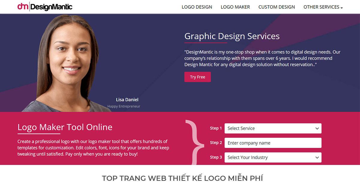 Design Mantic - Trang web thiết kế Logo miễn phí