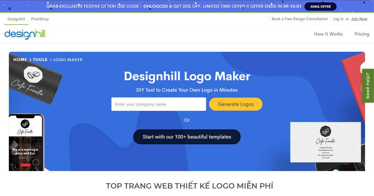 Design Hill - Trang web thiết kế Logo miễn phí