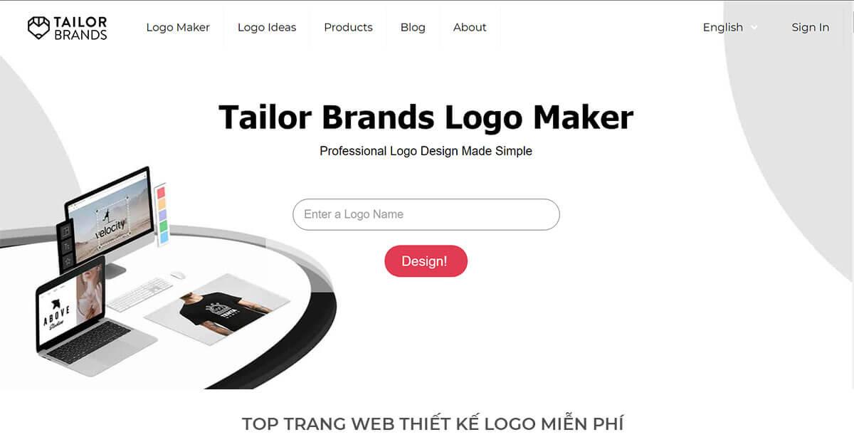 Tailor Brands - Tập trung giải pháp thiết kế Logo (Miễn phí giới hạn)