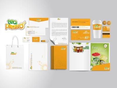 Thiết kế logo và hệ thống nhận diện thương hiệu cửa hàng trà sữa TEA PRESSO