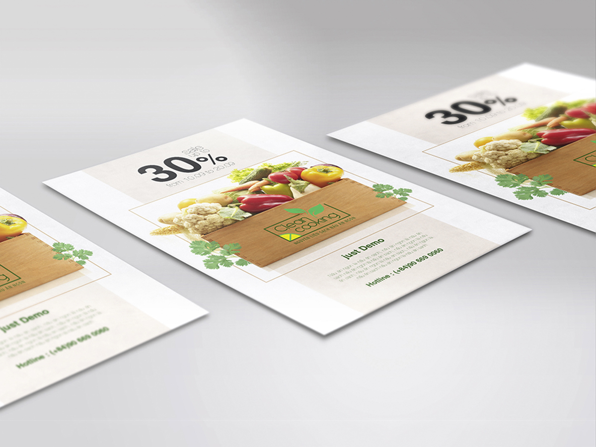 Thiết kế logo và ấn phẩm marketing thương hiệu thực phẩm Clean Cooking tại TP HCM