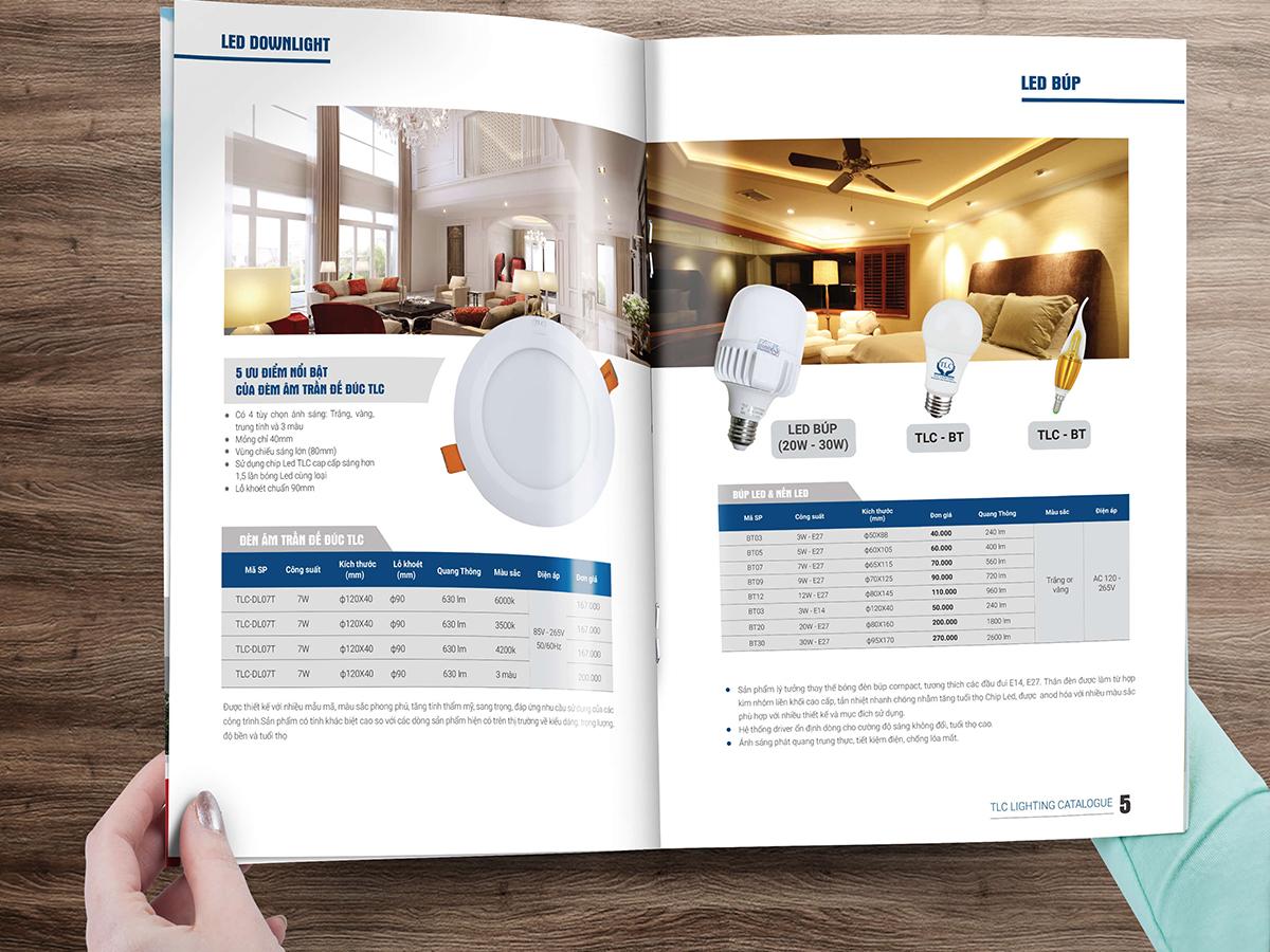 Thiết kế bao bì và catalogue thiết bị chiếu sáng TLC Lighting tại Hà Nội