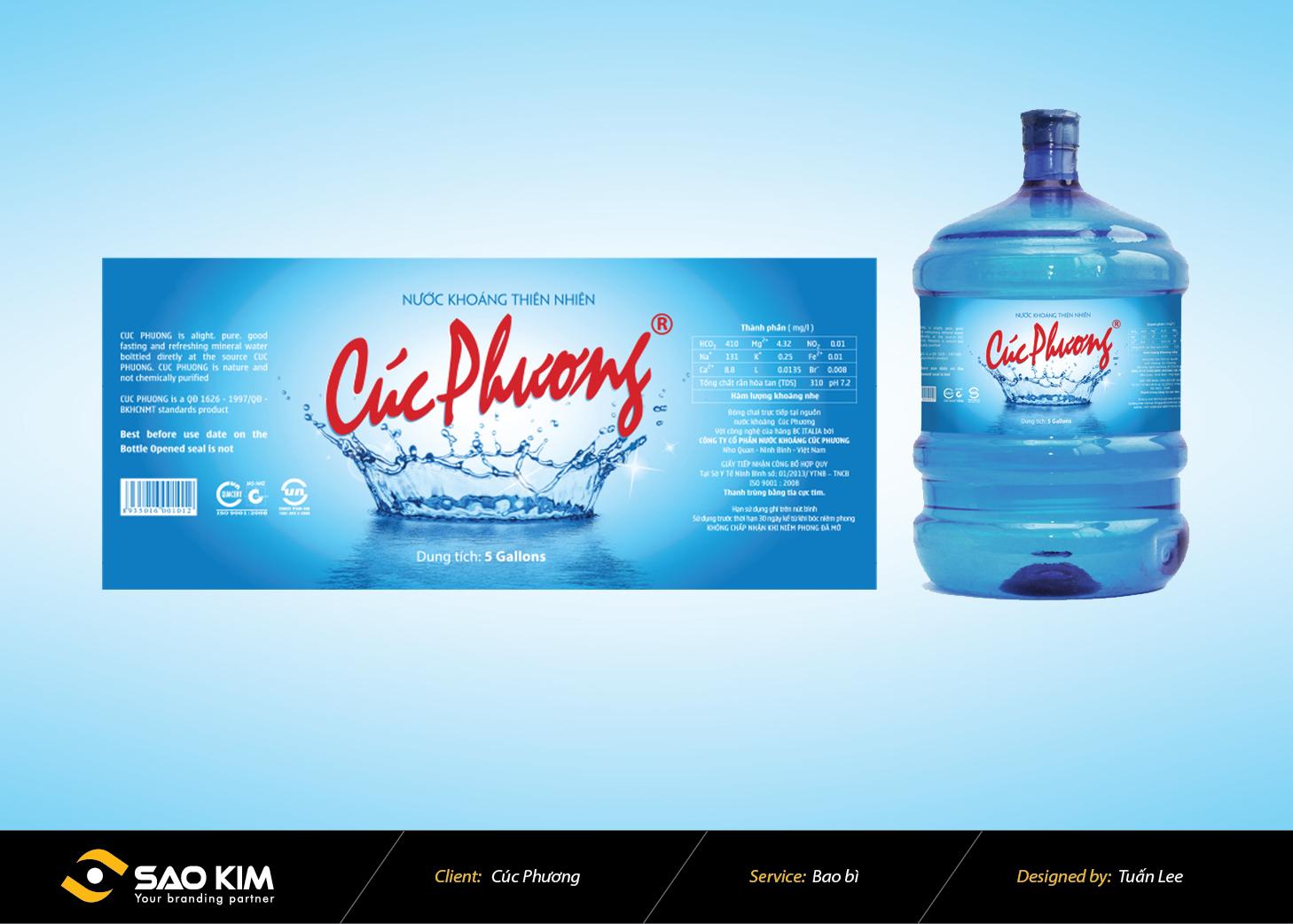 Thiết kế bao bì nước uống tinh khiết Cúc Phương tại Ninh Bình