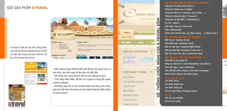 Thiết kế kế brochure giới thiệu dịch vụ E-TRAVEL tại Hà Nội, TP HCM
