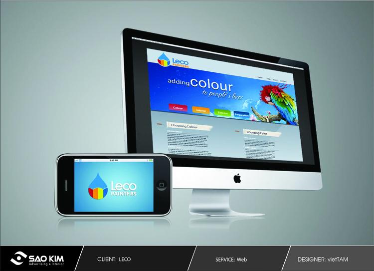 Thiết kế logo - website - nhận diện thương hiệu cho công ty sơn Leco Painters tại Quốc tế