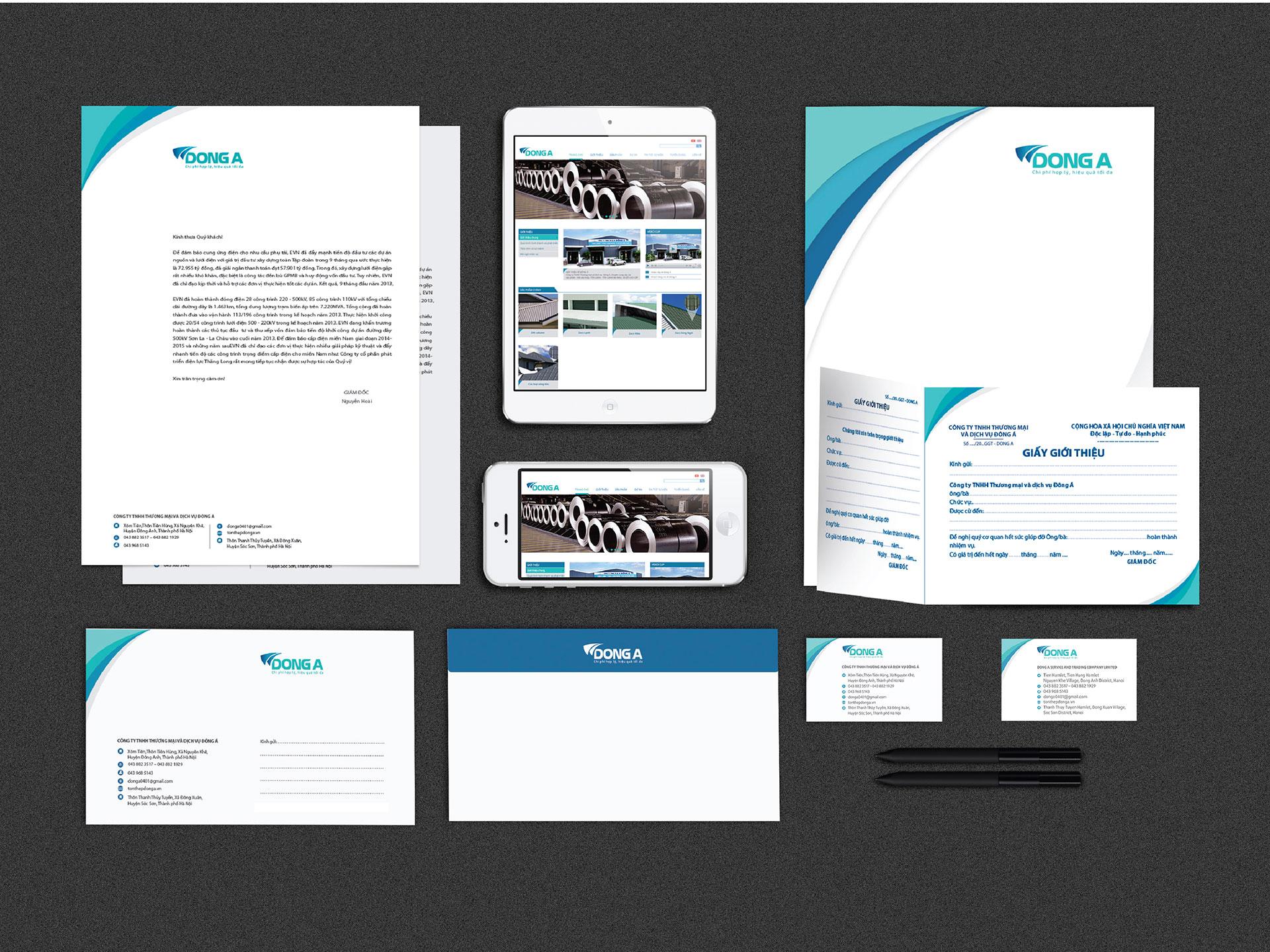 Thiết kế Logo, Bộ nhận diện, Profile và Website Công ty tôn thép Đông Á tại Hà Nội