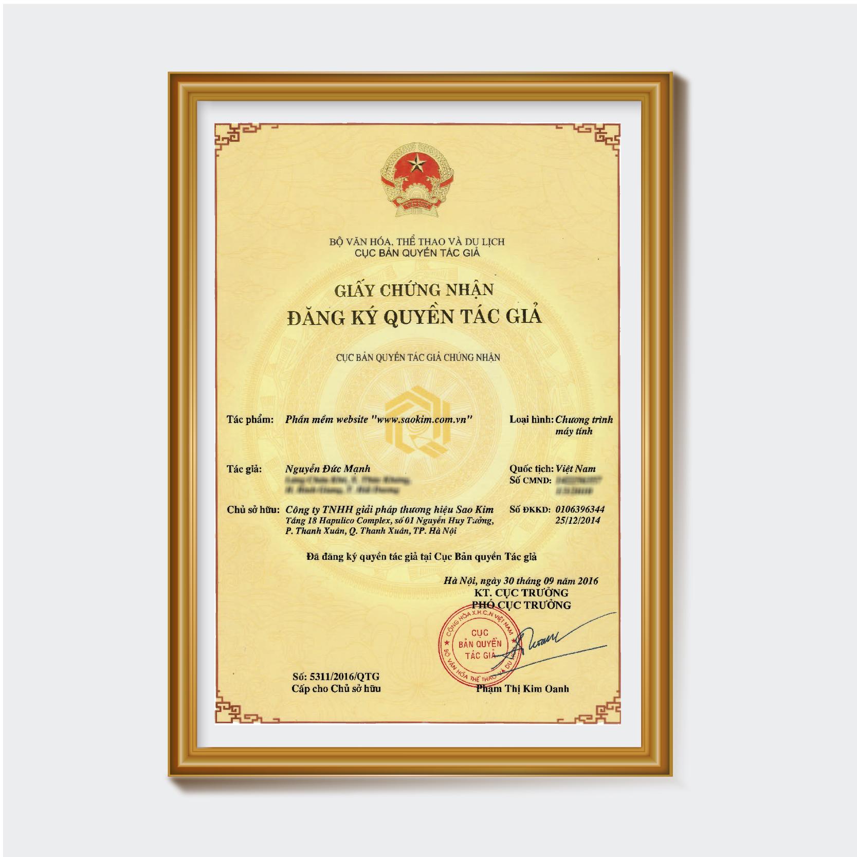 Giấy chứng nhận đăng ký bản quyền website Sao Kim