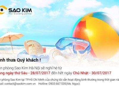 [SAOKIM – HN] Thông báo lịch nghỉ mát năm 2017 tại văn phòng Hà Nội