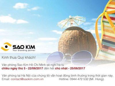 [SAOKIM – HCM] Thông báo lịch nghỉ hè 2017