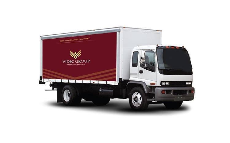 Phối cảnh nhận diện trên xe tải của VIDEC.
