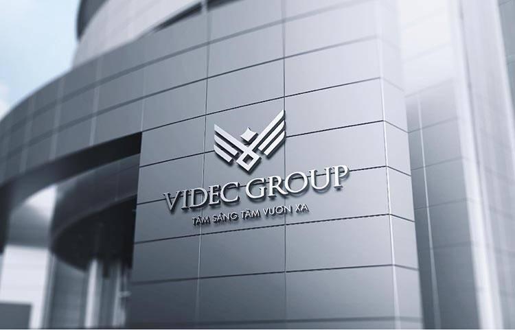 Phối cảnh thiết kế logo thương hiệu tập đoàn VIDEC.