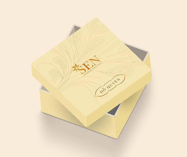 Mẫu thiết kế hộp đựng sản phẩm tổ yến khô màu trắng của SEN Pearl & Nest.