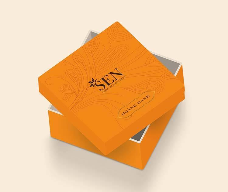 Mẫu thiết kế hộp đựng sản phẩm tổ yến khô màu vàng của SEN Pearl & Nest.