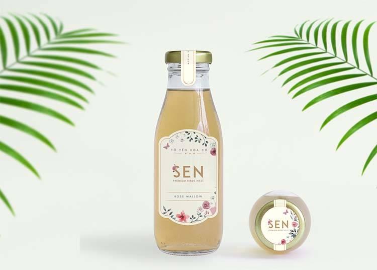 Mẫu thiết kế nhãn mác chai yến chưng sẵn dòng Hoa lá của SEN Pearl & NEST.