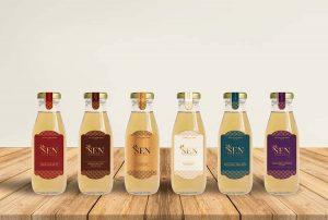 Mẫu thiết kế nhãn mác chai yến chưng sẵn dòng Cung Đình của SEN Pearl & Nest.