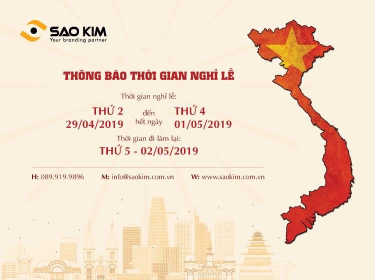 Thông báo nghỉ lễ 30/4 và 1/5/2019 của Sao Kim.