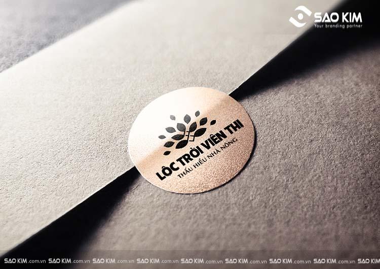 Phối cảnh thiết kế logo thương hiệu Lộc Trời Viên Thị do Sao Kim thực hiện.