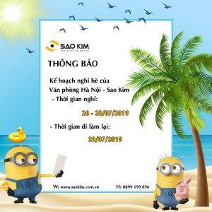 [SAOKIM-HN] Thông báo lịch nghỉ hè năm 2019 - ảnh từ SaoKim Branding