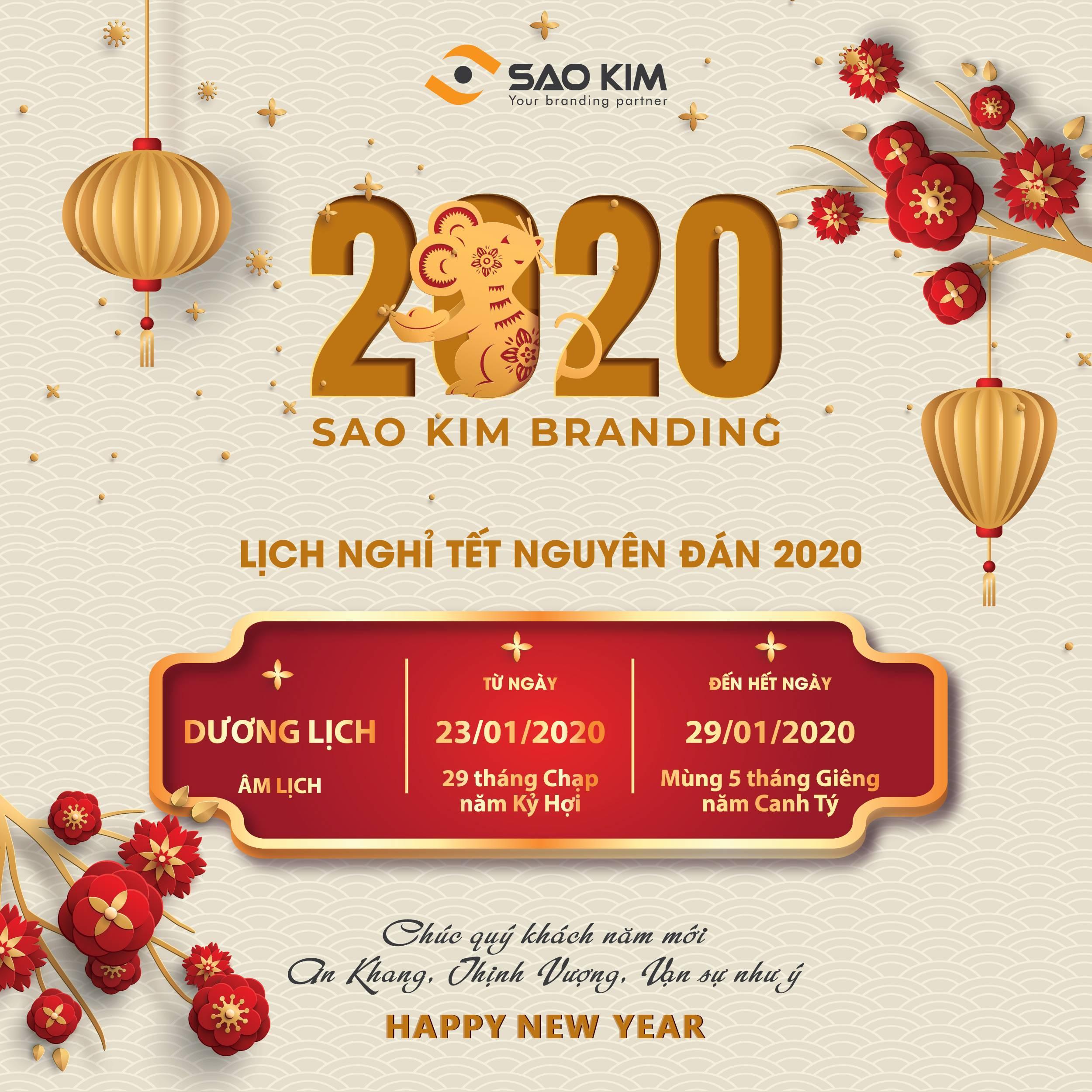 Sao Kim thông báo lịch nghỉ Tết Canh Tý năm 2020 - ảnh từ SaoKim Branding