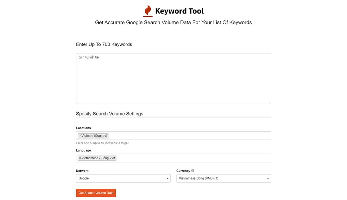 Kế hoạch SEO: Công cụ nghiên cứu từ khóa Keyword Tool (1)