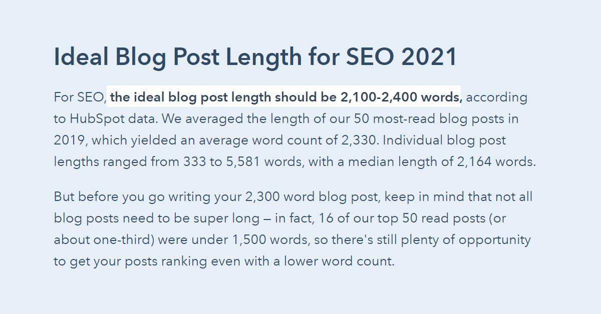 Bài viết chuẩn SEO tốt thường có độ dài khoảng 2100 đến 2400 từ