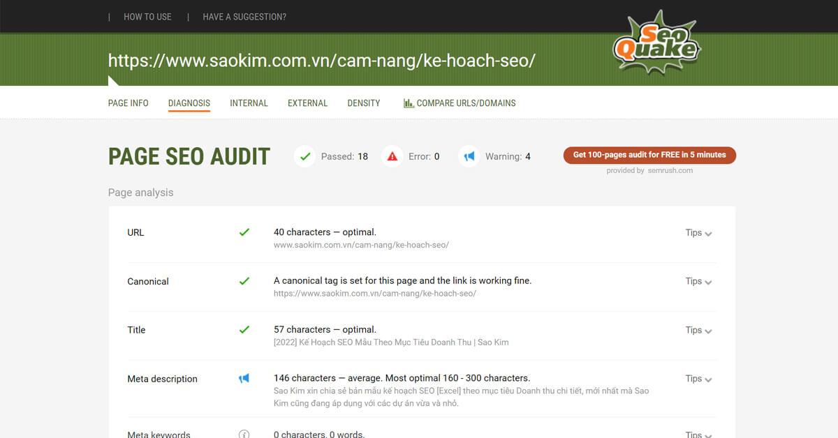 Công cụ hỗ trợ viết bài chuẩn SEO: Phân tích bài viết bằng Seoquake