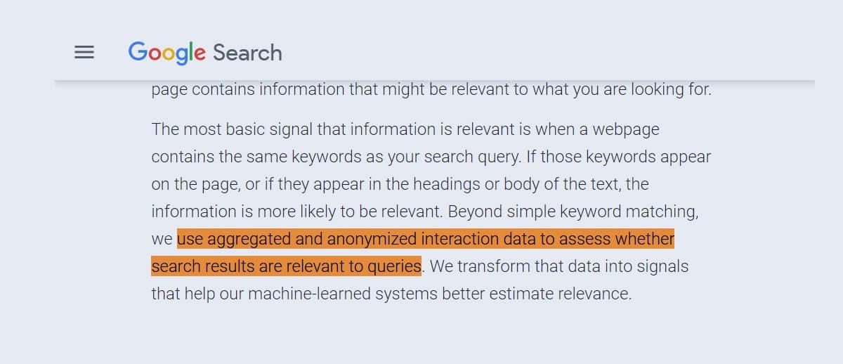 Google sử dụng dữ liệu trải nghiệm người dùng để đánh giá bài viết SEO