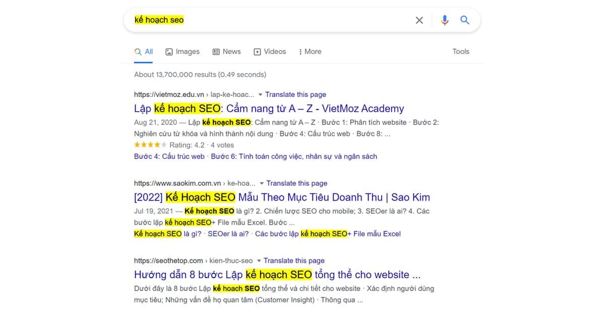 Google xếp hạng bài viết thông qua nội dung, từ khóa xuất hiện trong đó