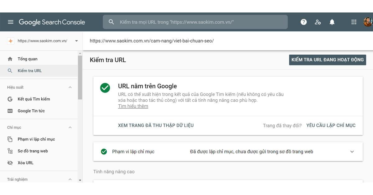Yêu cầu lập chỉ mục bài viết trong Google Search Console