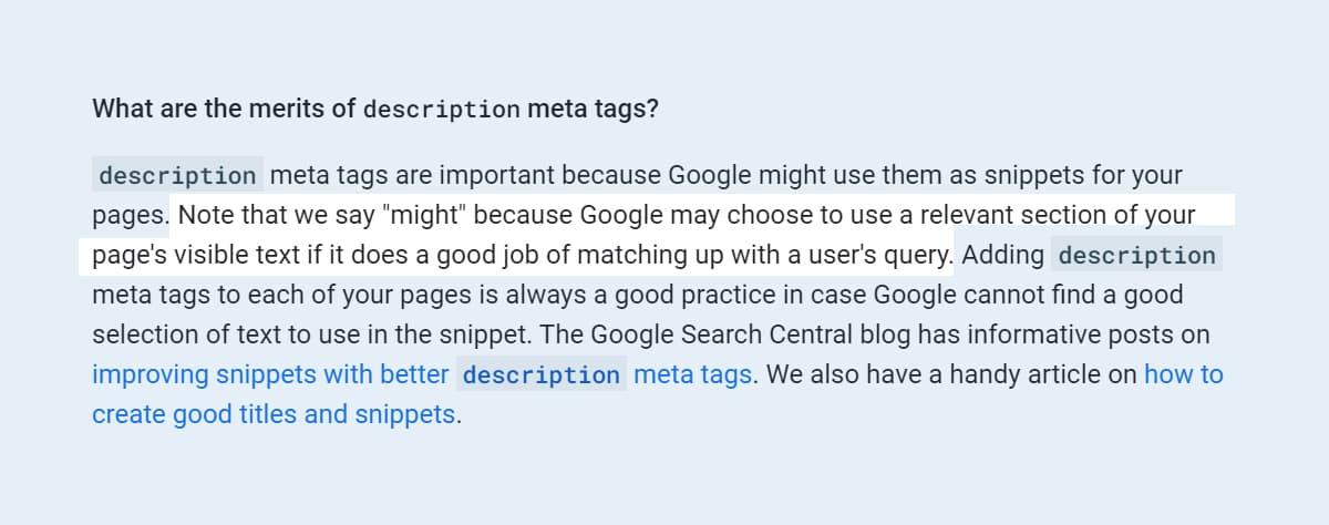 Tiêu chí viết bài chuẩn SEO: Google có thể lấy thẻ Meta Description khi không tìm thấy đoạn trích phù hợp