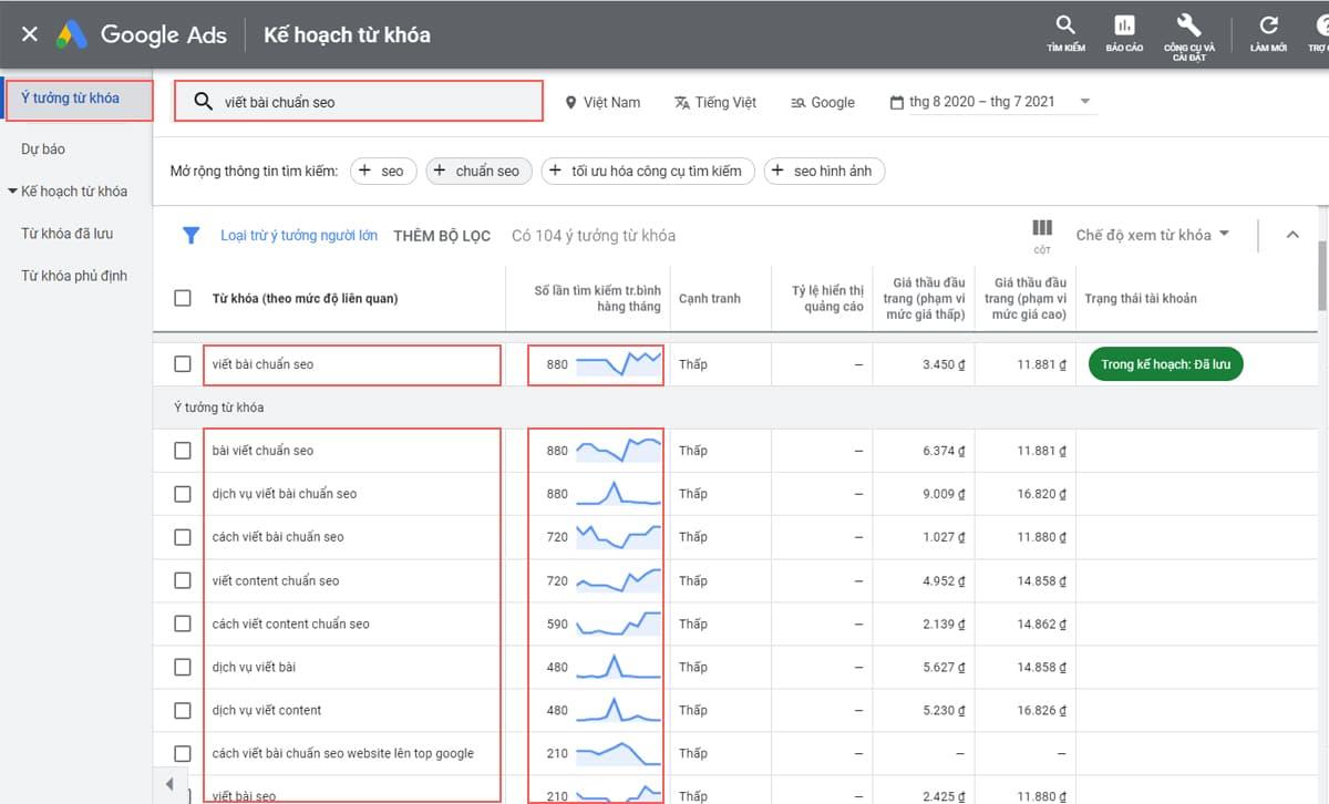 Tìm kiếm từ khóa viết bài SEO bằng Google Keyword Planner